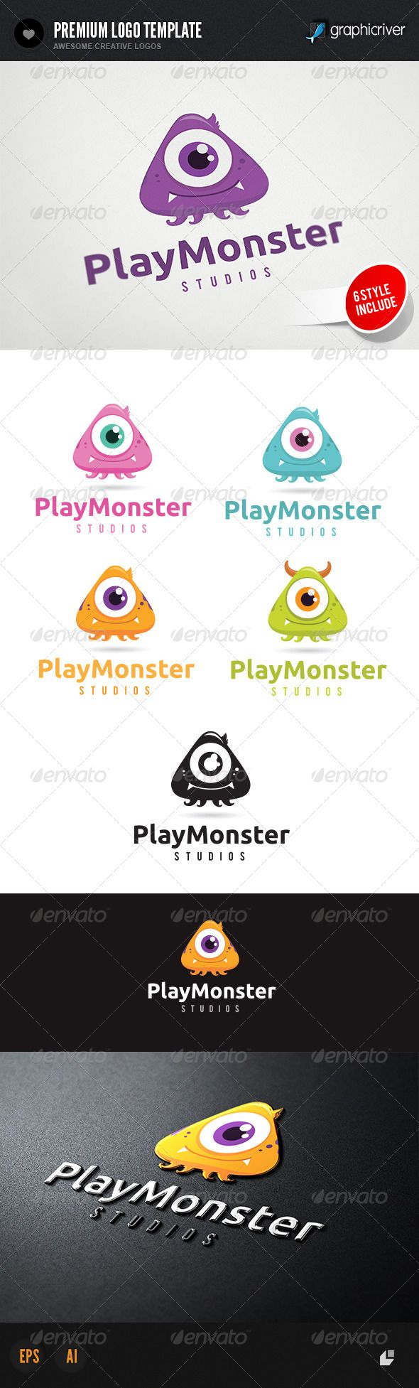Play Monster Logo — Vector EPS #audio #baby • Available here → https://graphicriver.net/item/play-monster-logo/4541781?ref=pxcr