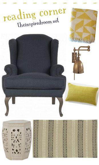yellow reading corner navy wingback chair