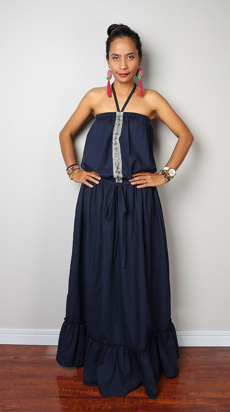 Navy Blue Maxi Dress / Romantic Summer Dress  : Cheer me Up collection by Nuichan on Etsy https://www.etsy.com/listing/221683583/navy-blue-maxi-dress-romantic-summer