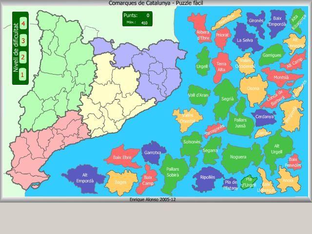 Encaixa les peces del puzzle (comarques), de nivell fàcil, fins a completar el mapa de Catalunya.