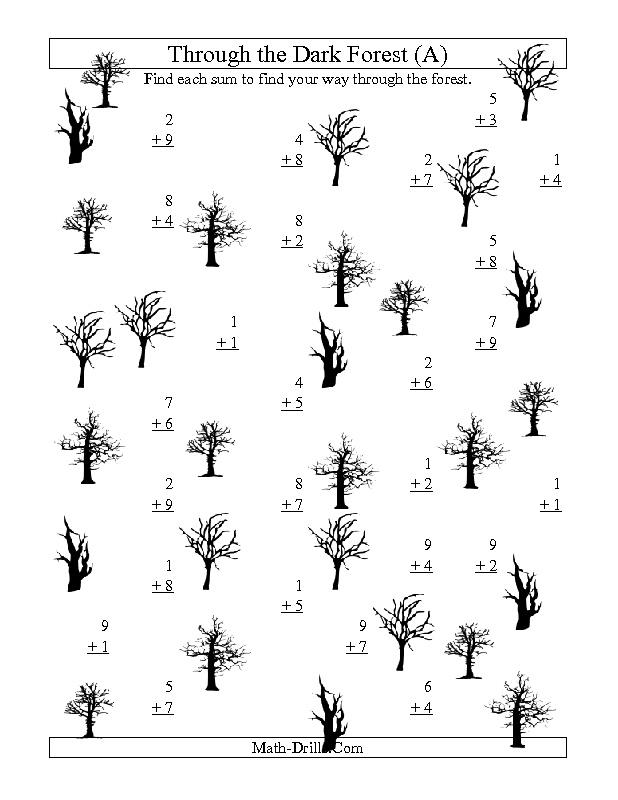 Halloween Math Worksheet Adding through the Dark Forest One – Halloween Fraction Worksheets