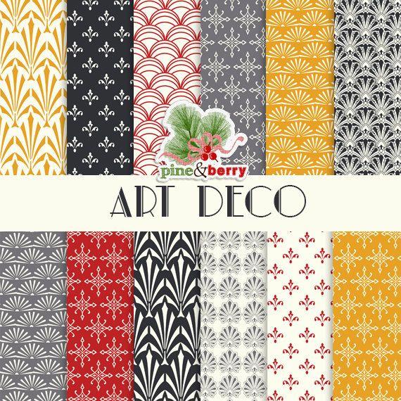 Pack de papier numérique motif art déco | « Art déco » 12 papiers digitaux en motif Art déco pour artisanat numérique / impression, cartes, invitations, Scrapbook