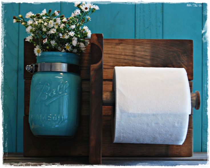 Rustic Toilet Paper Holder. - make the potty room smell good with flowers :)