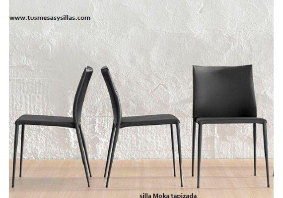 Elegante silla Moka tapizada de alta calidad y con un atractivo precio, blanca, negra, diseño, calidad, vintage, estilo industrial