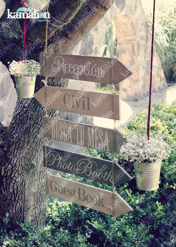 www.kamalion.com.mx - Decoración / Sign / Letreros / Vintage / Rustic Decor / Wedding / Boda / Hanging / Flores / Señalización.