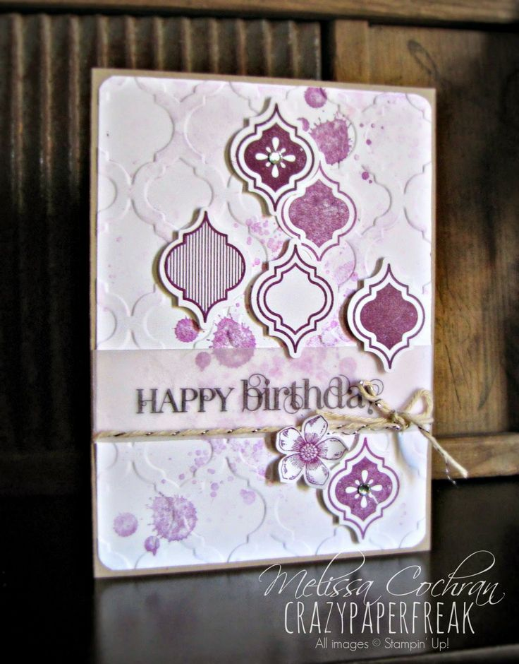 Stampin' Up! Happy Birthday card created by Melissa @ crazypaperfreak.blogspot.com Blackberry Bliss, Mosaic Madness, Curly Cute