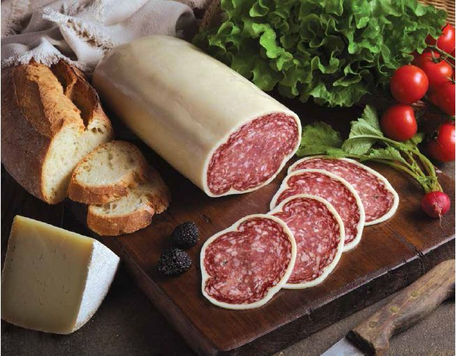 Salami with truffle, cheese glazed