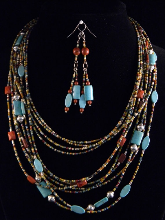 Multistrand Picasso seed bead with turquoise by Doreendidit
