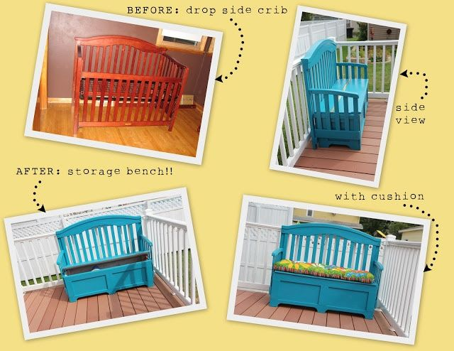 Crib Repurposed Into Bench With Cushion There Are No