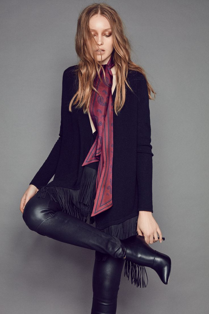 FW16 Delia cashmere cardigan with faux suede fringes and Sari stretch leather pants…