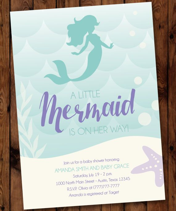Little Mermaid Baby Shower Invitation Mermaid Baby Shower