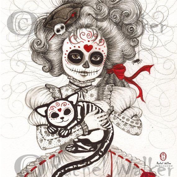8x10 matted to 11x14 Never Apart Day of the Dead girl, skeleton cat, skull kitten, ribbons, stripes, marie anntoniette, Rachel Walker on Etsy, $22.00