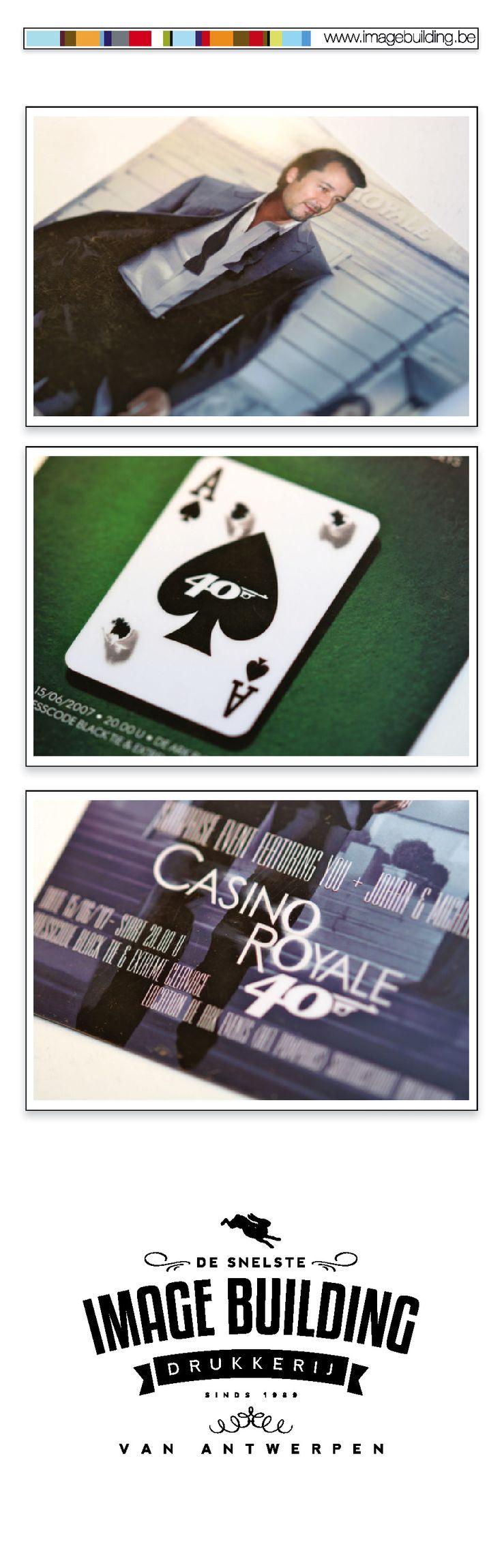 Ontwerp en druk uitnodiging privéfeest volgens thema James Bond - Casino Royal. #imagebuildingnv #desnelstedrukkerijvanantwerpen #uitnodiging #graphicdesign #grafisch #ontwerp #opmaak #drukwerk