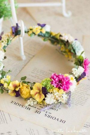 カラフルビビッドフラワー+パンジー クリップコサージュ花冠 (3パーツ) corolla#garland#wreath