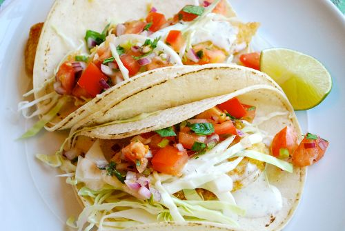 Fantastic Baja Fish Tacos with Fresh Pico de Gallo Salsa and Creamy White Dill Sauce recipe.  Such simple ingredients for a truly delicious meal.
