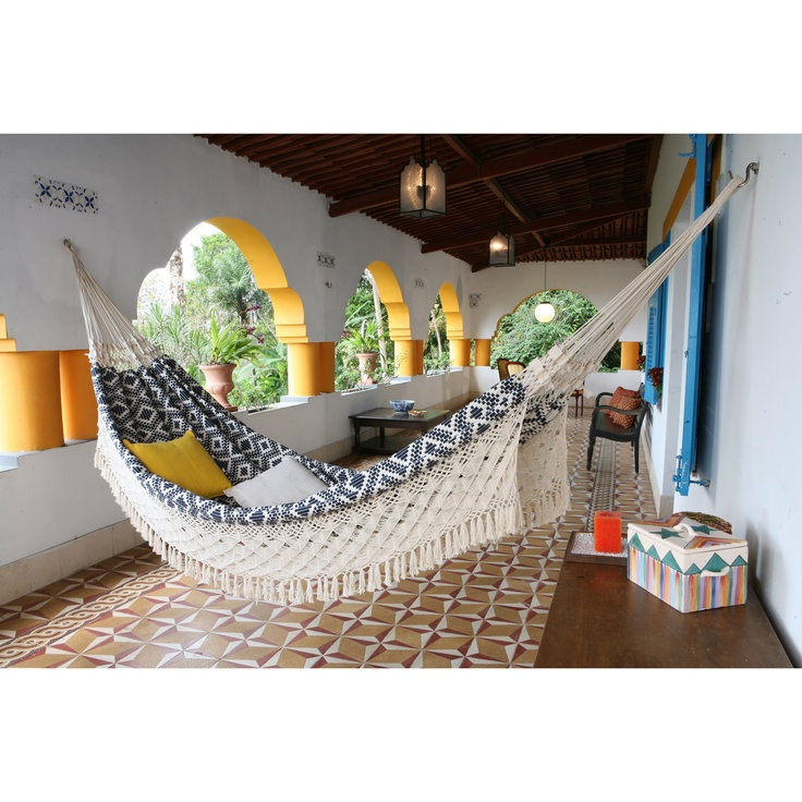 For a San Fernando Valley pool space. Install along an exterior, coral-painted wall. XL Navy Jacquard Hand Woven Brazilian Hammock $149.99