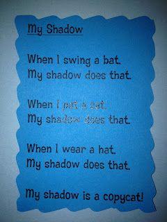 For the Love of Kindergarten: Shadow poem