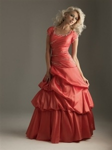 Evening Dresses With Sleeves, Coral Formal Dresses, Sweet 16 Dresses $165.00