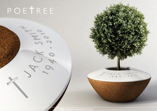Turn a loved one into a living tree. Cork urn, tree on top. When the tree gets big enough, plant outdoors and the pot breaks down into the earth. The ring stays around the tree base.