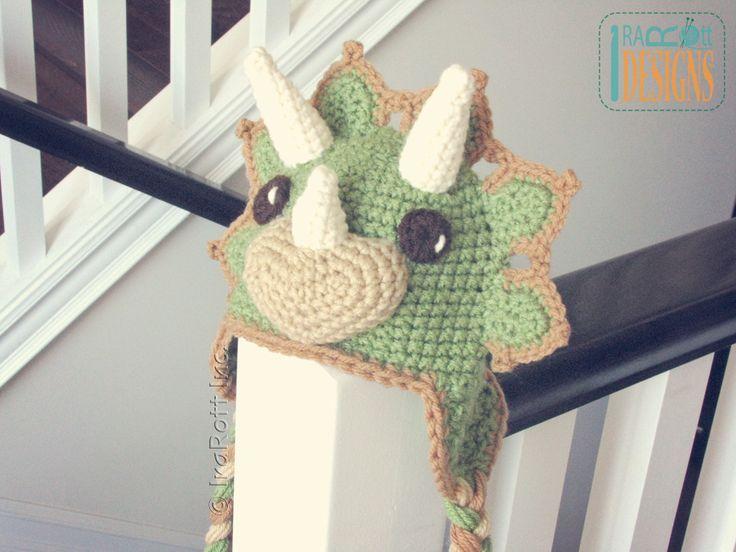 Cera the Triceratops Dino Hat PDF Crochet Pattern by IraRott