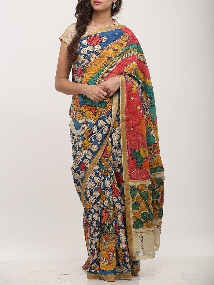 Blue Red Cotton Kalamkari Saree