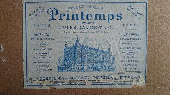 Divine timeworn antique French AU PRINTEMPS PARIS by simplychateau, £15.00