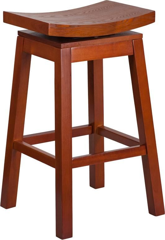 30'' High Saddle Seat Light Cherry Wood Barstool with Auto Swivel Seat Return