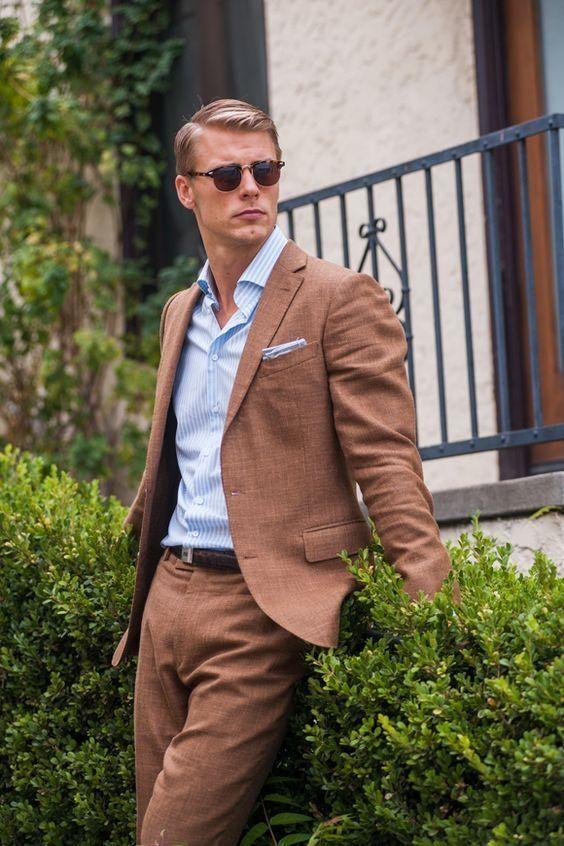 2018 Latest Coat Pant Designs Brown Men Suits Casual Slim Fit Custom
