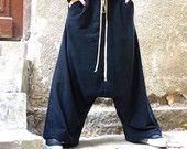 NUEVO otoño invierno colección algodón negro harén pantalones entrepierna gota extravagantes pantalones / / pantalones de bolsillos del lado francés Terry por AAKASHA A05527