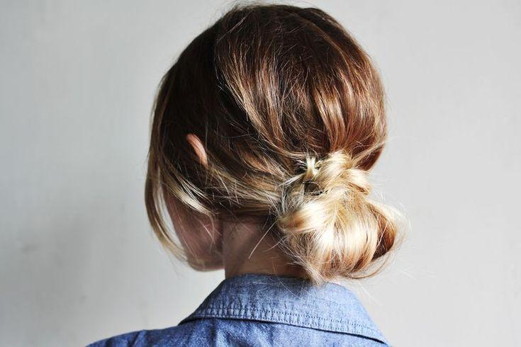 simple messy bun #hairstyle #bun
