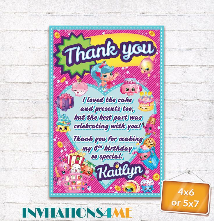 ShopkinsThank you Card Shopkins Favor Tag Shopkins Birthday Party Goodie Bag Tag with matching Invitation Customized Digital File by INVITATIONS4ME on Etsy