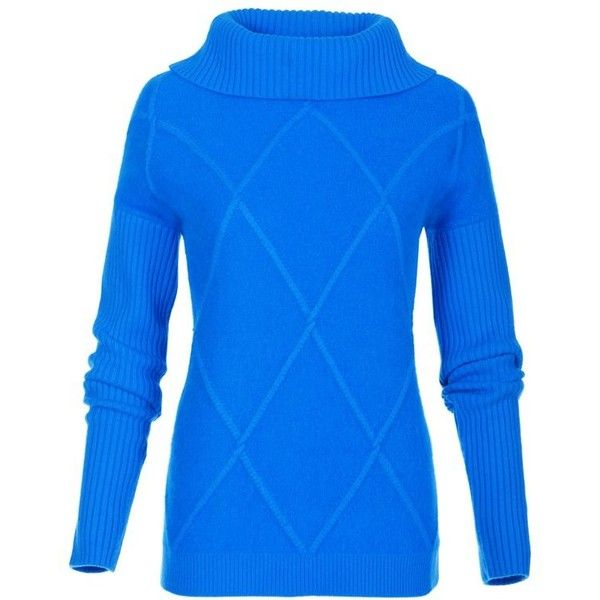 Damen Rollkragenpullover mit Merinowolle und Angora ($155) ❤ liked on Polyvore featuring tops, sweater pullover, boxy top and blue top