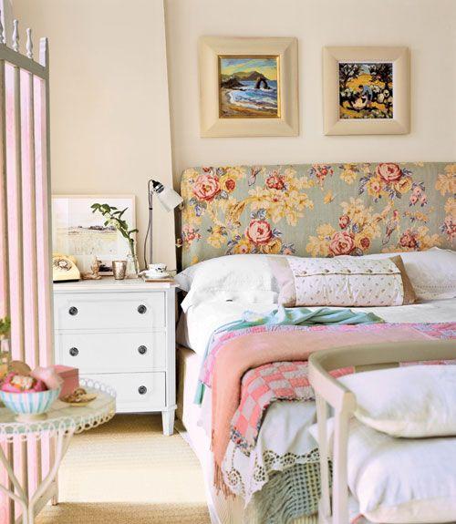 vintage: Floral Patterns, Cottages Bedrooms, Beds Head, Upholstered Headboards, Pink Bedrooms, Country Bedrooms, Bedrooms Ideas, Beaches Bedrooms, Fabrics Headboards