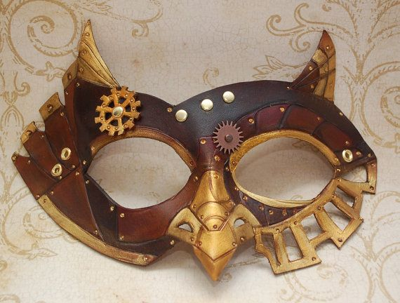 SteamOwl Leather Steampunk Owl Mask Made to Order by PlatyMorph, $70.00