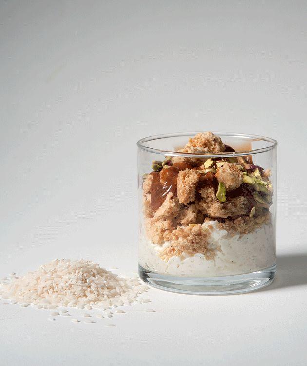 Το ρυζόγαλο του διάσημου Ελληνοαυστραλού σεφ George Calombaris γίνεται με ρύζι για σούσι και σερβίρεται με καραμέλα και κραμπλ κουραμπιέ.