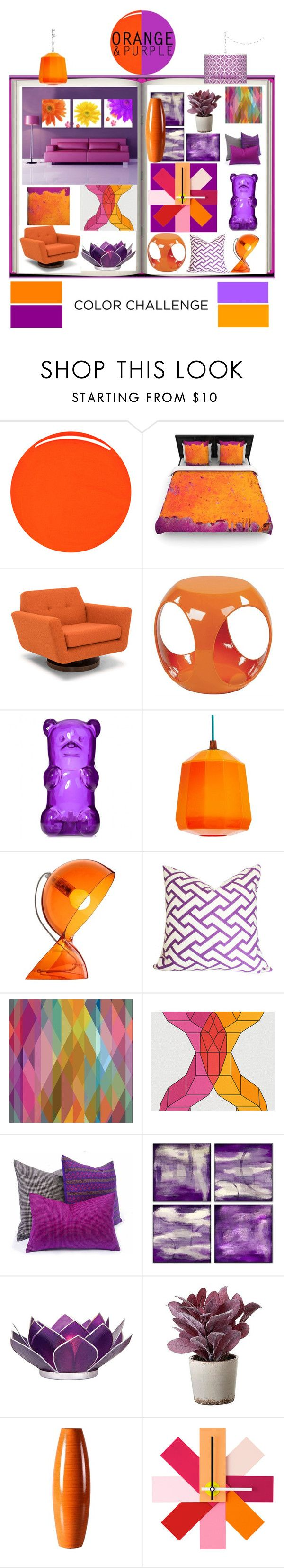 """""""Orange & Purple Color Challenges"""" by beleev ❤ liked on Polyvore featuring interior, interiors, interior design, home, home decor, interior decorating, RGB Cosmetics, Joybird Furniture, Office Star and Token"""