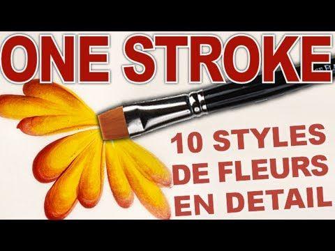 Nail art fleur : 10 styles de fleurs/design one stroke. Tuto comment faire 10 styles de fleurs : explications en gros plan Pour s'entraîner sur papier, j'uti...
