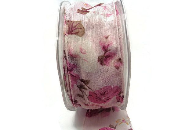 Floral Wired ribbon Pink wired ribbon 38mm wide by buttonswoon