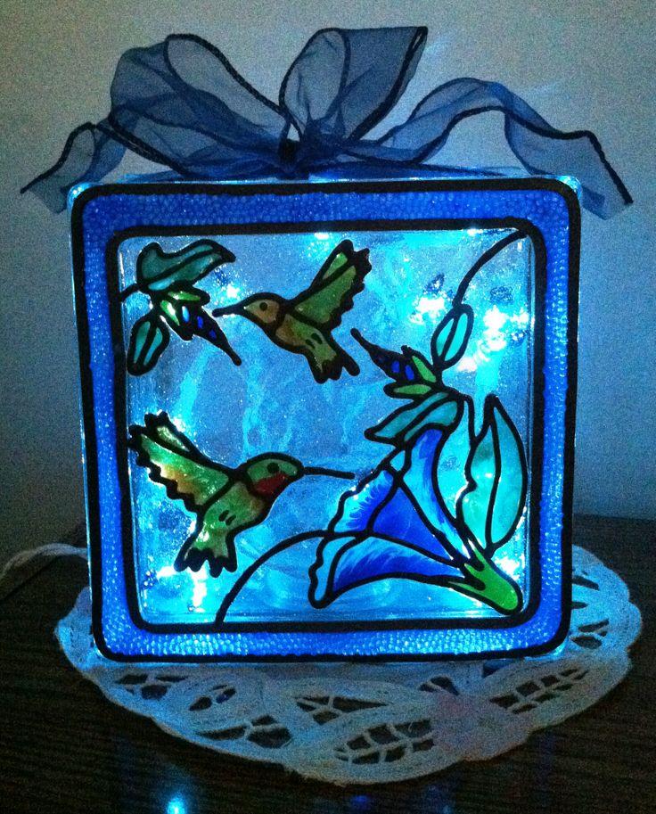 Lighted Gallery Glass Hummingbird Light Block Made With