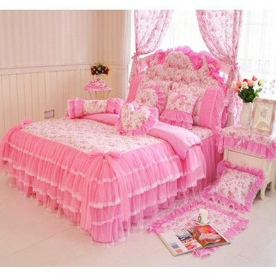 Charming Pink Dream Garden Lace Ruffle Tulle Floral Bedding