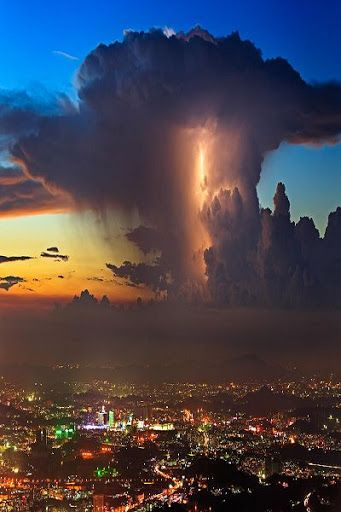 Lightning In Sunset Clouds - WuTong Mountains, Shenzhen, China