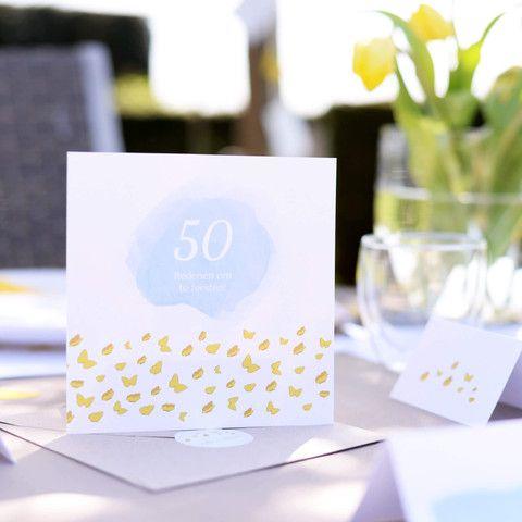 Uitnodigingen | Aquarel Vlinder #tuinfeest #jubileum #pensioenfeest #invitations #butterfly #Beaublue