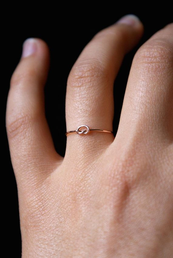 Rose Gold Tiny Ultra Thin Knot ring  One Single by hannahnaomi