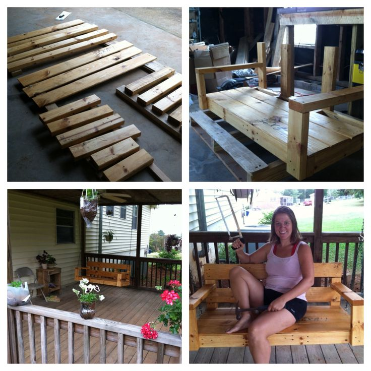Porch swing made from pallets cost 22 completed pins for How to make a pallet porch swing