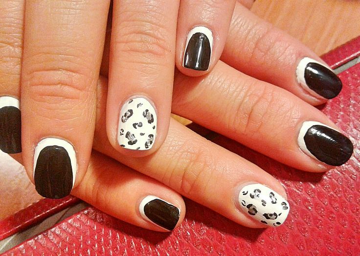Nail. Art. Cat. Cat nail art. Leo. Black. White. French manicure.