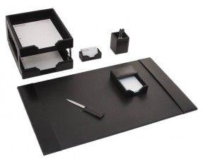 Dacasso Black Leather Desk Set