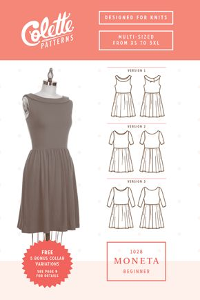 Moneta is your new go-to dress pattern. Built for both elegance and comfort, this simple knit dress works in every season and for any occasi...