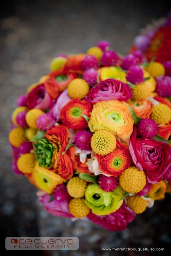 Gorgeous Brightly Colored Ranunculi Bridal Bouquet with Touches of Gomphrena and Billy Balls - The French Bouquet - Ace Cuervo Photography