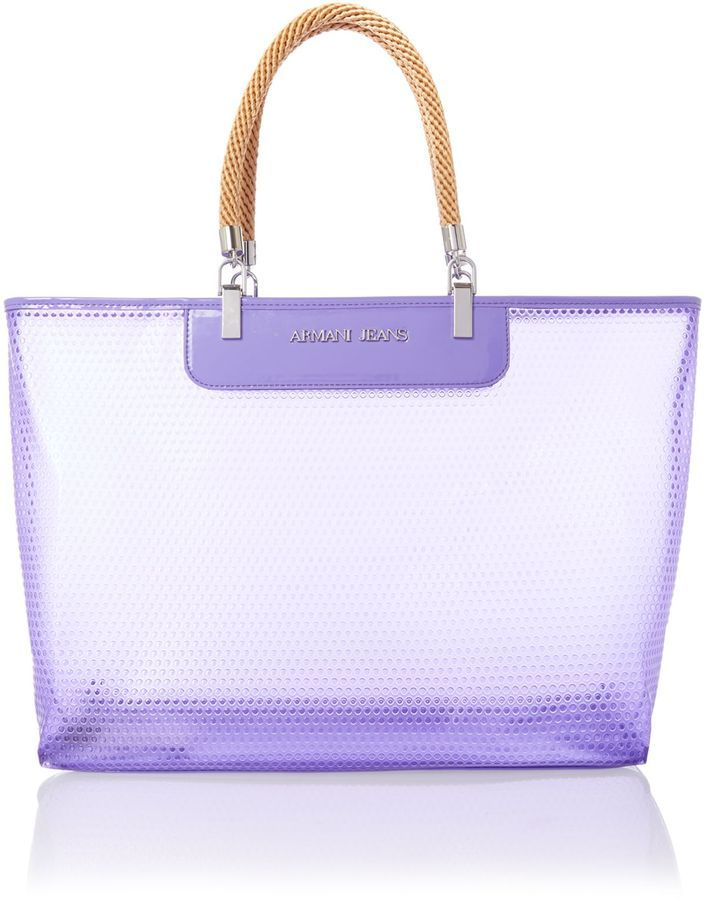 2be5d4cd6593 Armani Jeans Large purple beach bag with rope handles on shopstyle.com