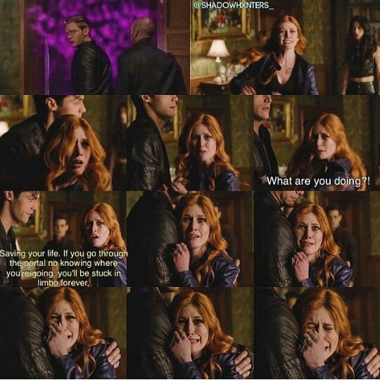 Season 1 Episode 13: Alec and Clary She trusts Alec enough to cry in his arms, and Alec pity's her and hugs her